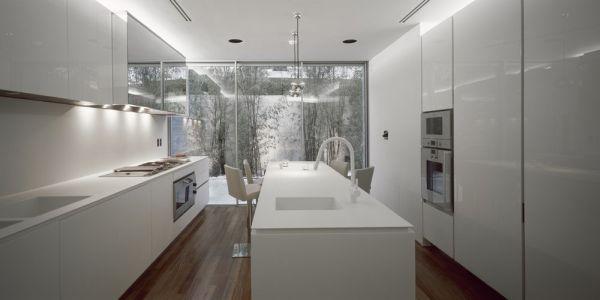 View In Gallery White Kitchen With Dark Wooden Flooring