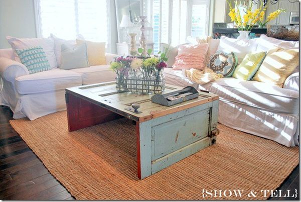 Reclaimed Door Coffee Table. 14 Inspiring DIY projects featuring reclaimed wood furniture