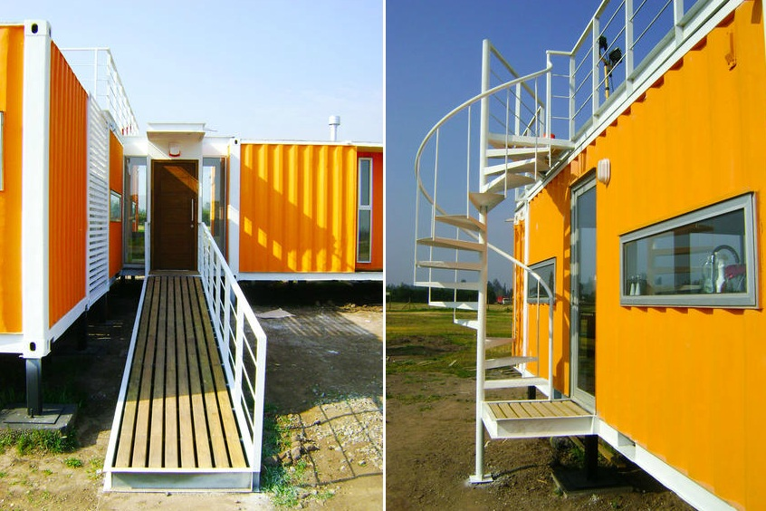 yellow cargo container casa in chile a house made from shipping