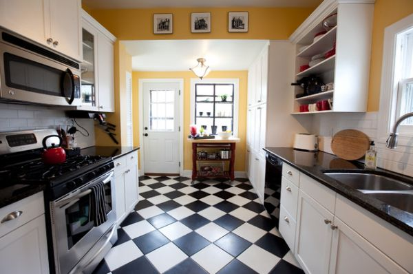 Exceptional View In Gallery Black And White Checkerboard Flooring In An Eclectic Kitchen  ... Great Pictures
