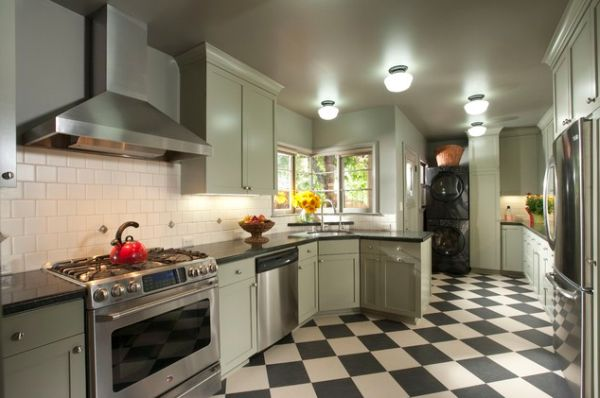 View In Gallery In A Contemporary Kitchen, The Checkerboard Flooring ...