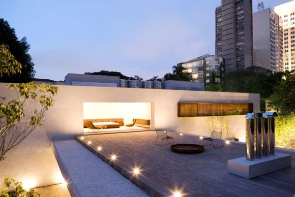 View In Gallery A Strongly Contemporary Roof Terrace Defined By Asymmetrical Lines And Sculptural Forms