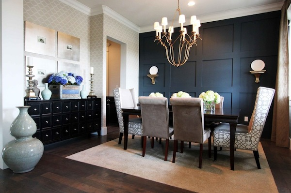 Accent Walls Dark Dining Room