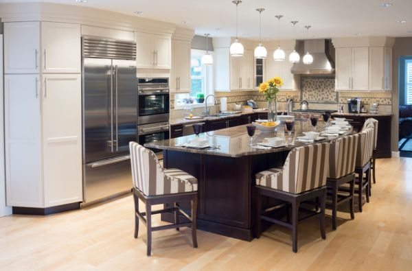 Multifunctional kitchen islands with seating