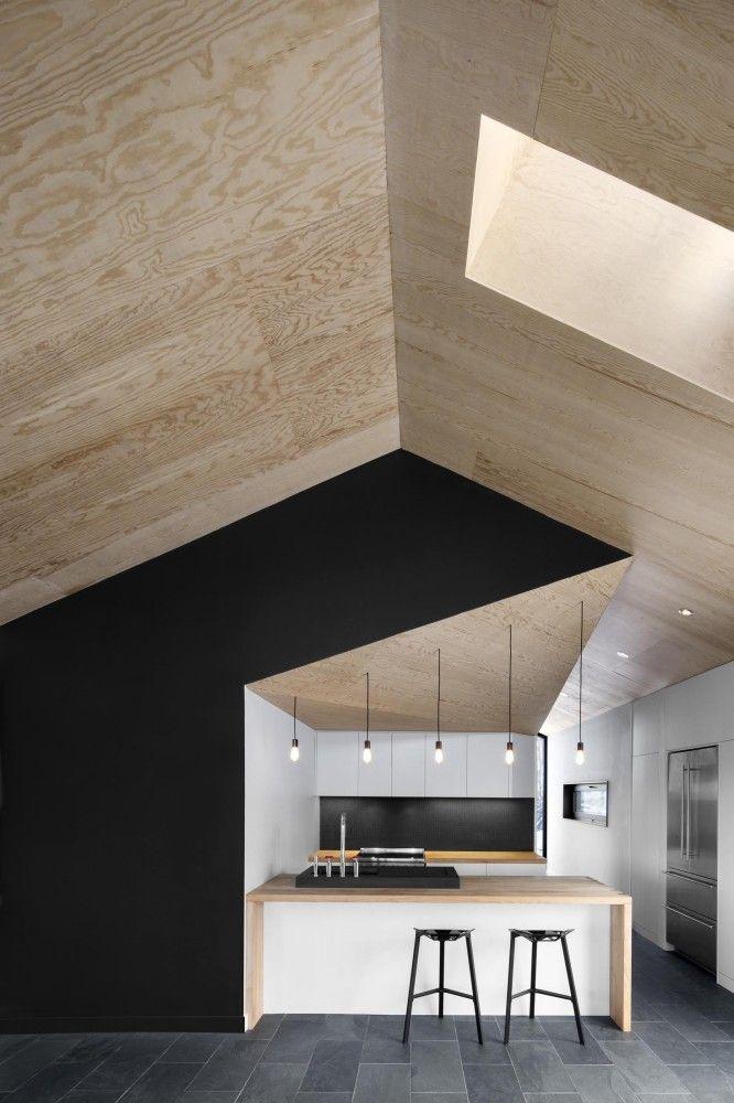 black and white kitchen design black stools