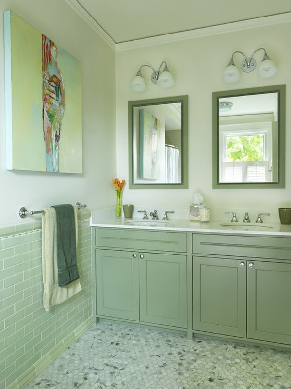 Green Floor how to use green in bathroom designs