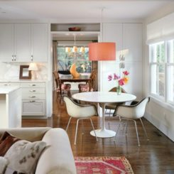 drum pendant lighting orange dining room