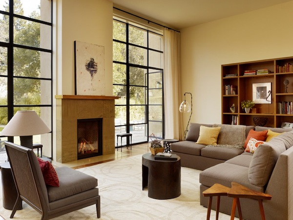 floor to ceiling windows dark family room