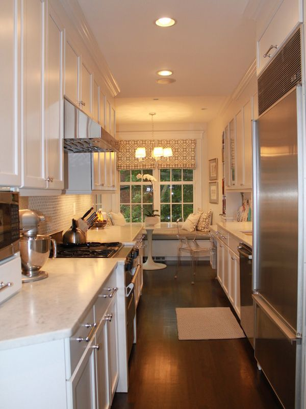 Form and function in a galley kitchen for Long narrow kitchen ideas