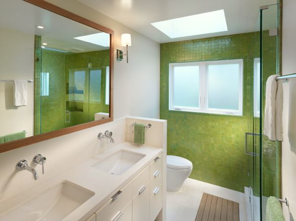 How to use green in bathroom designs for Bathroom decor green walls