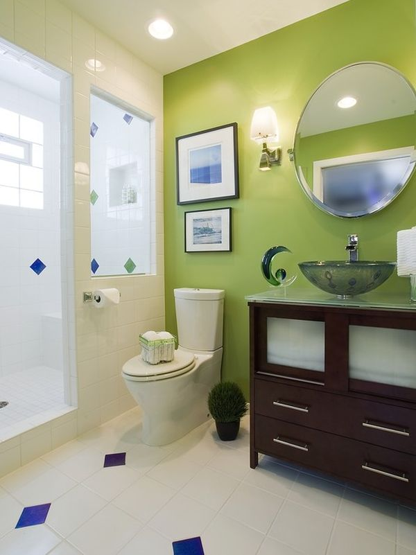 green bathroom color ideas. Accent Walls  How To Use Green In Bathroom Designs