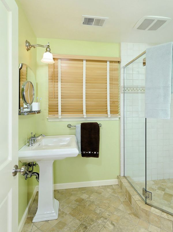 How to use green in bathroom designs for Bathroom decor light green