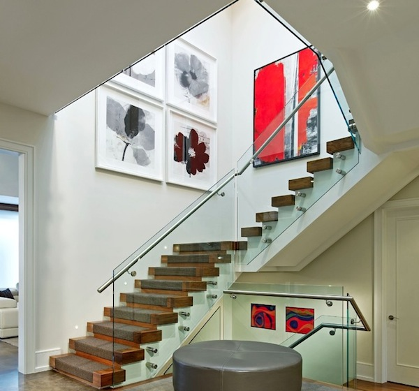 Modern Stairwell Hanging Photos