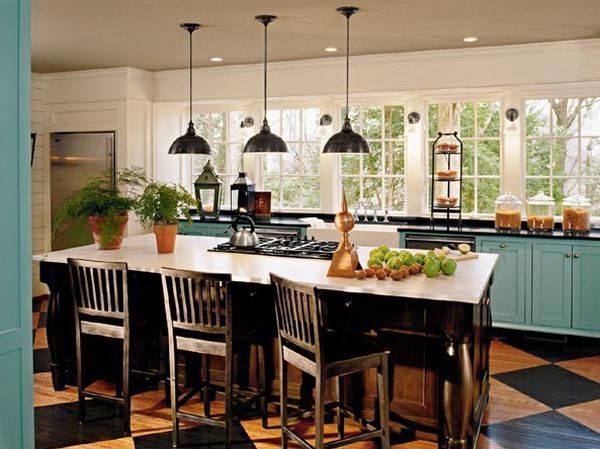 ... View In Gallery Wooden Kitchen Floor Stained In A Checkered ...