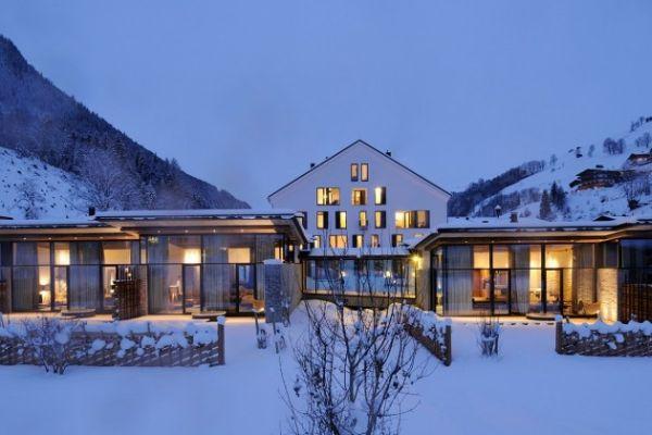 the modern wiesergut hotel on the ski slopes of hinterglemm