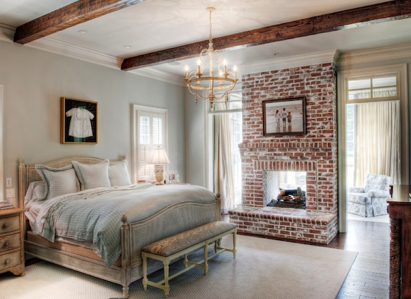 winter bedroom fireplace brick
