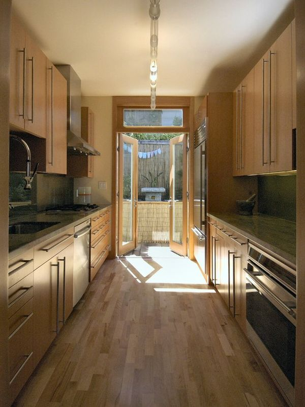 Form and function in a galley kitchen for Narrow kitchen units
