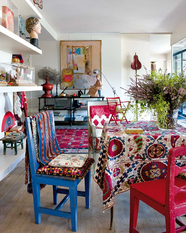 Eclectic Decorating Style Home Decor Vintage Small Kitchen: Isabelle De Borchgrave House, Decorated With A Beautiful