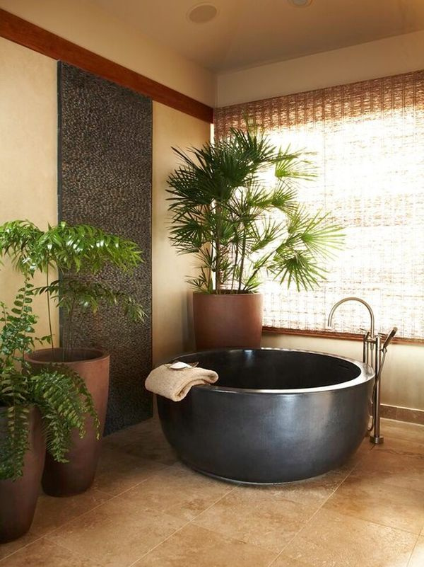 10 round bathtub design ideas and decors that go with them for Asian small bathroom design