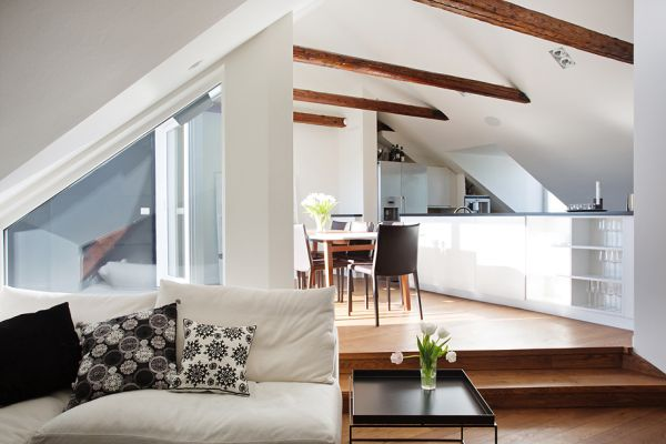 Chic Modern Attic Apartment With Exposed Beams