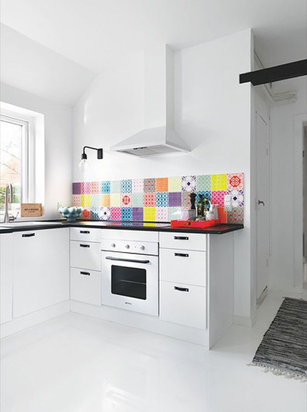 white kitchen backsplash ideas. Simple Backsplash View In Gallery A Colorful Backsplash A White Kitchen  In White Kitchen Backsplash Ideas