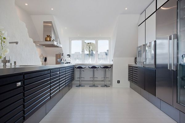 Attic penthouses spacious cozy and quite dramatic for Cocinas ultramodernas