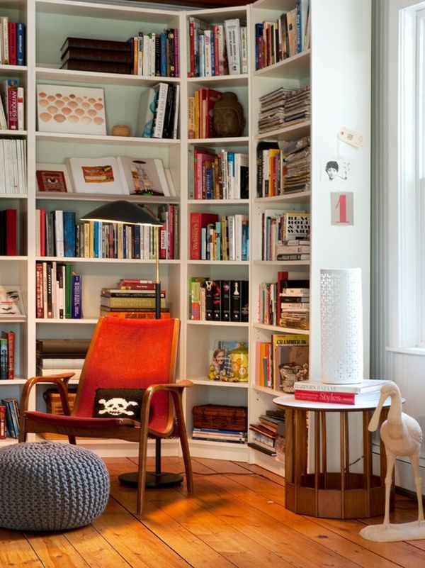 Modern living room designs that use corner units for Modern living room shelving units