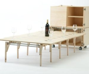 Mobile Dining Unit That Reveals A Surprisingly Large Folding Table