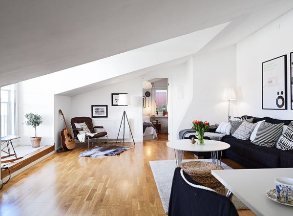 Small but chic attic apartment with beautiful views and a balanced dcor