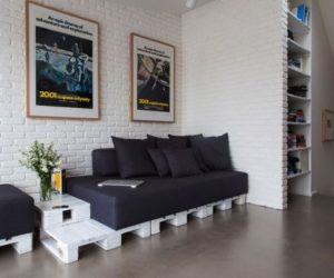 Modern Apartment With An Industrial Vibe And Pallet Furniture