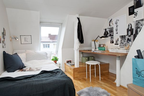 very small attics 42 square meter attic apartment with subtle pops of color