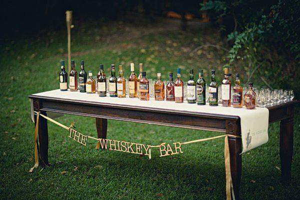 Whiskey tasting at wedding