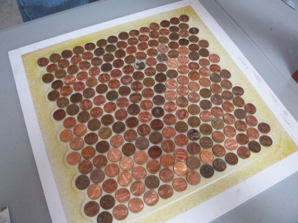 How to make copper penny flooring in 9 easy steps place the tiles on the floor pronofoot35fo Choice Image