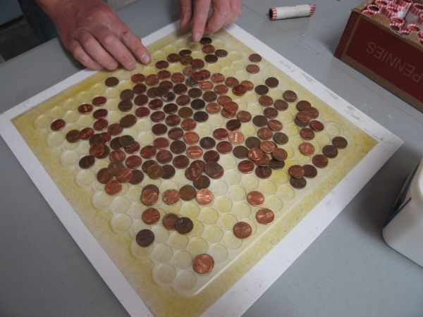 How to make copper penny flooring in 9 easy steps stick the pennies to the fiberglass maxwellsz