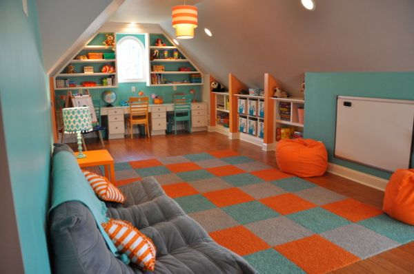 35 colorful playroom design ideas for Attic room decoration
