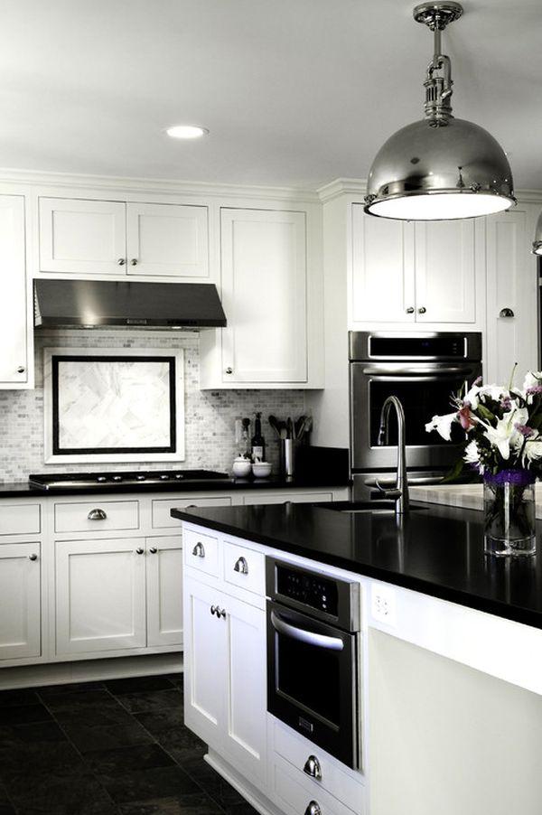 white and black kitchens 2017 - Grasscloth Wallpaper