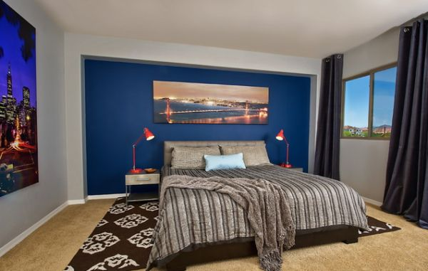 Dark Blue Accent Wall Bedroom 15 blue bedrooms with soothing designs