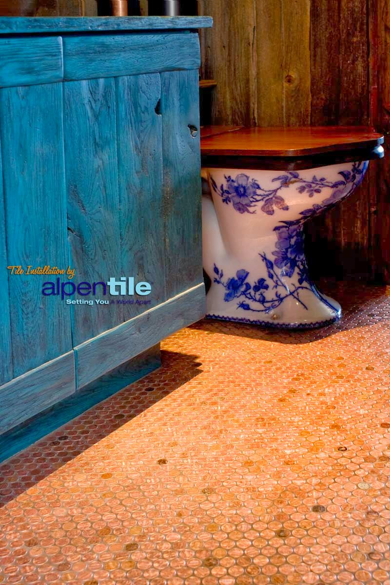How To Make Copper Penny Flooring In Easy Steps - Copper penny floor grout