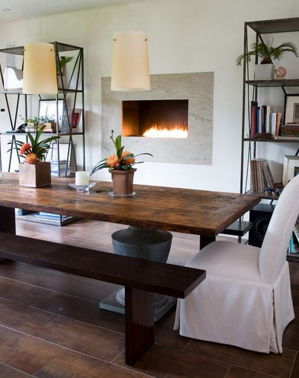 Stylish farmhouse dining tables airily romantic or casual for Dining room tables booth style