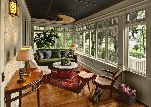 Nice ... Sunroom Interior Décor With A Wood Paneled Ceiling View In Gallery ...