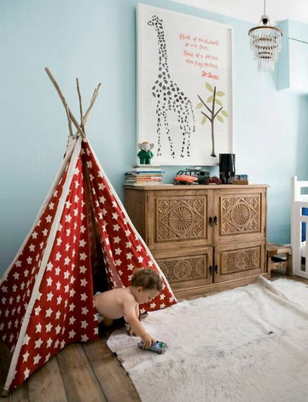 25 cool tent design ideas for kids room for Diy cat teepee