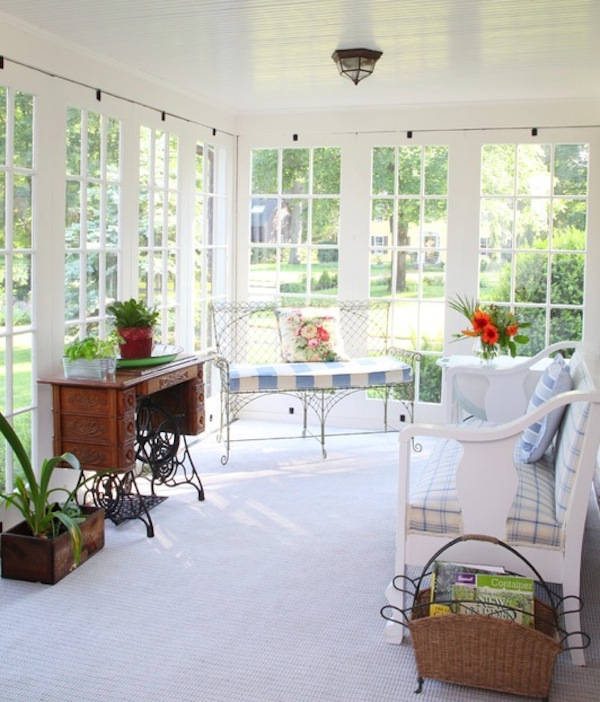 Screened porch interior blue home offices designs