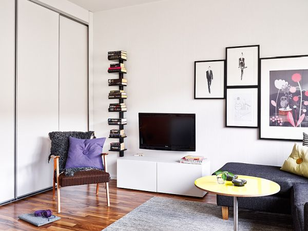 A 25 square meter studio with a very organized and chic interior