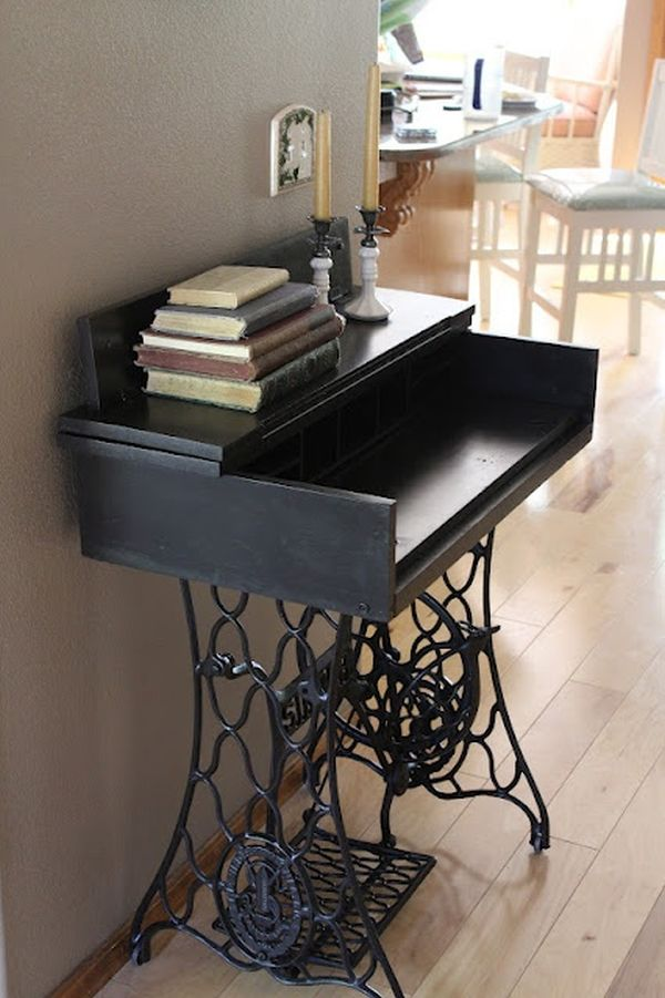 ingenious ideas for repurposing a treadle sewing machine. Black Bedroom Furniture Sets. Home Design Ideas