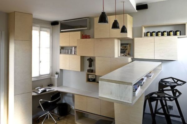 A 130 square foot apartment with very creative storage solutions