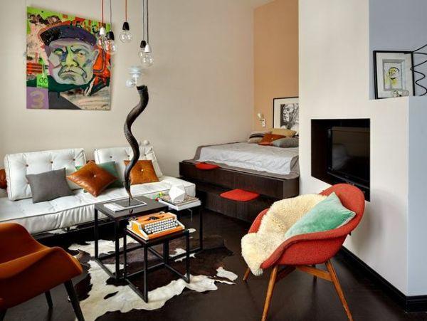 A fun and colorful loft with a creative interior design