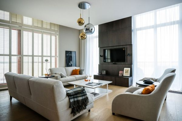 a sophisticated apartment with an elegant interior in warsaw. Black Bedroom Furniture Sets. Home Design Ideas