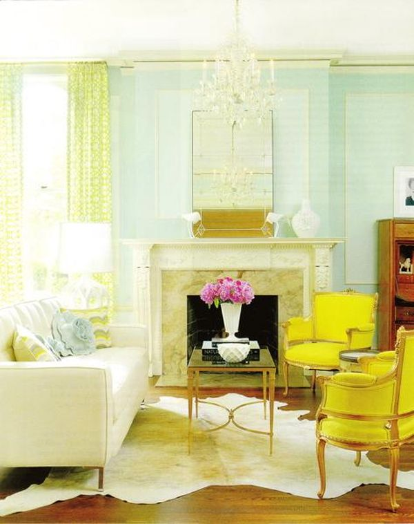 Aqua yellow cheery fresh Light colored living room sets
