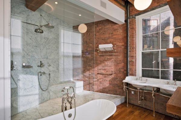 Ladder Stand Designs : A brick wall always charming décor feature in any room