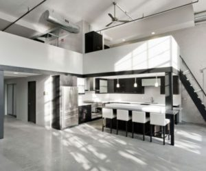 Modern residence/design office featuring a minimalist black and white interior